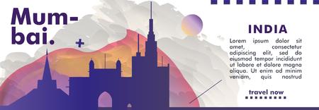 Modern India Mumbai skyline abstract gradient website banner art. Travel guide cover city vector illustration