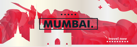 Modern India Mumbai skyline abstract gradient website banner art. Travel guide cover city vector illustration Ilustracja