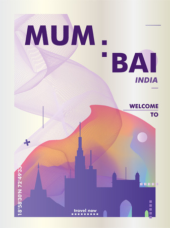 Modern India Mumbai skyline abstract gradient poster art. Travel guide cover city vector illustration Zdjęcie Seryjne - 114081326