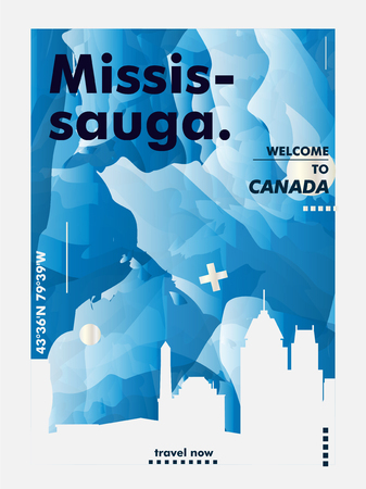 Modern Canada Mississauga skyline abstract gradient poster art. Travel guide cover city vector illustration