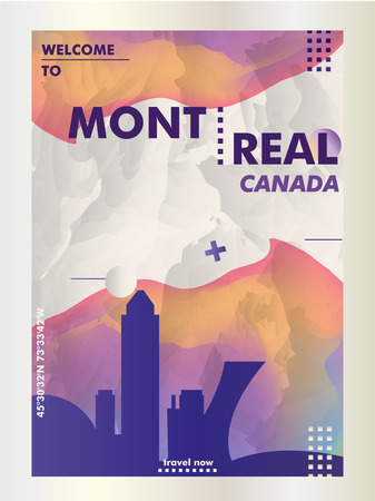 Modern Canada Montreal skyline abstract gradient poster art. Travel guide cover city vector illustration