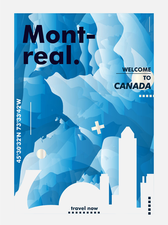 Modern Canada Montreal skyline abstract gradient poster art. Travel guide cover city vector illustration Zdjęcie Seryjne - 114081372