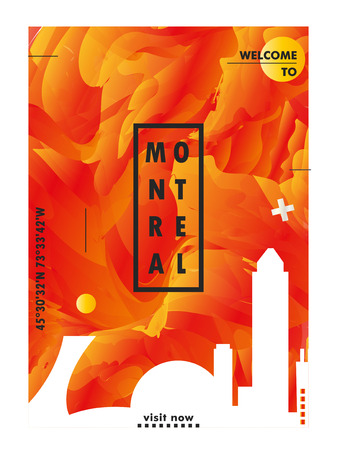 Modern Canada Montreal skyline abstract gradient poster art. Travel guide cover city vector illustration Zdjęcie Seryjne - 114081374