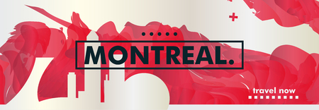 Modern Canada Montreal skyline abstract gradient website banner. Travel guide cover city vector illustration Illustration