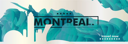Modern Canada Montreal skyline abstract gradient website banner. Travel guide cover city vector illustration Ilustracja