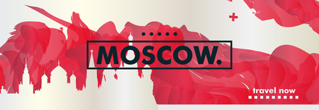 Modern Russia Moscow skyline abstract gradient website banner. Travel guide cover city vector illustration Ilustracja