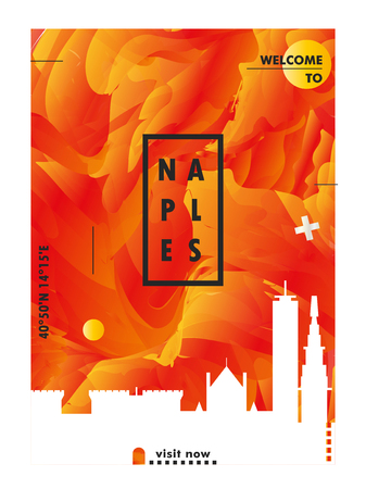 Modern Naples Italy skyline abstract gradient poster art. Travel guide cover city vector illustration