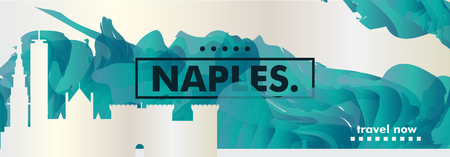 Modern Naples Italy skyline abstract gradient website banner. Travel guide cover city vector illustration Ilustracja