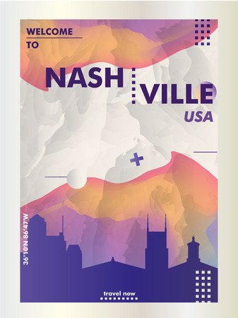 Modern USA United States of America Nashville skyline abstract gradient poster art. Travel guide cover city vector illustration Ilustracja