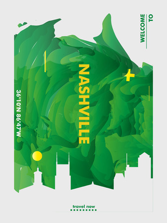 Modern USA United States of America Nashville skyline abstract gradient poster art. Travel guide cover city vector illustration 矢量图像