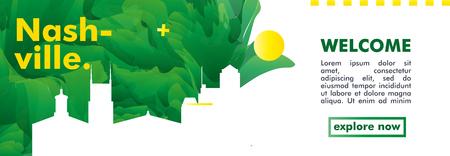 Modern USA United States of America Nashville skyline abstract gradient poster website banner. Travel guide cover city vector illustration Illustration