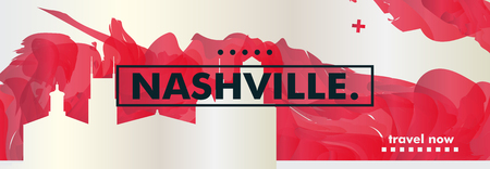 Modern USA United States of America Nashville skyline abstract gradient poster website banner. Travel guide cover city vector illustration Ilustracja