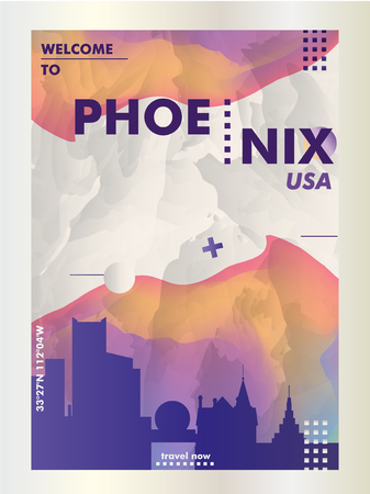 Modern USA United States of America Phoenix skyline abstract gradient poster art. Travel guide cover city vector illustration Ilustracja