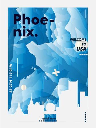 Modern USA United States of America Phoenix skyline abstract gradient poster art. Travel guide cover city vector illustration Zdjęcie Seryjne - 114081478