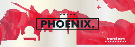 Modern USA United States of America Phoenix skyline abstract gradient website banner Travel guide cover city vector illustration