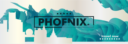 Modern USA United States of America Phoenix skyline abstract gradient website banner Travel guide cover city vector illustration 矢量图像