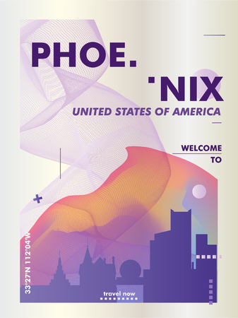Modern USA United States of America Phoenix skyline abstract gradient poster art. Travel guide cover city vector illustration