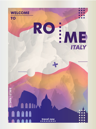 Modern Italy Rome skyline abstract gradient poster art. Travel guide cover city vector illustration Zdjęcie Seryjne - 114081487