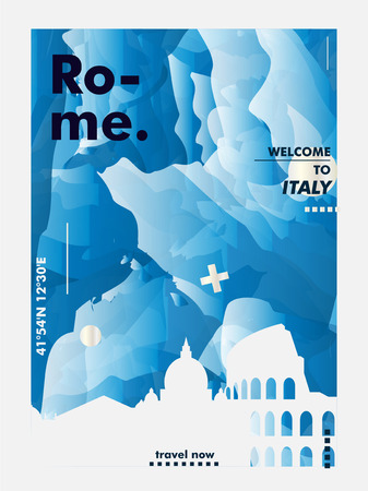 Modern Italy Rome skyline abstract gradient poster art. Travel guide cover city vector illustration Ilustracja