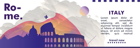 Modern Italy Rome skyline abstract gradient website banner. Travel guide cover city vector illustration Ilustracja