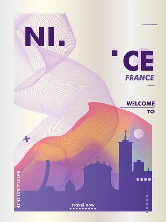 Modern Nice France skyline abstract gradient poster art. Travel guide cover city vector illustration Archivio Fotografico - 133689568