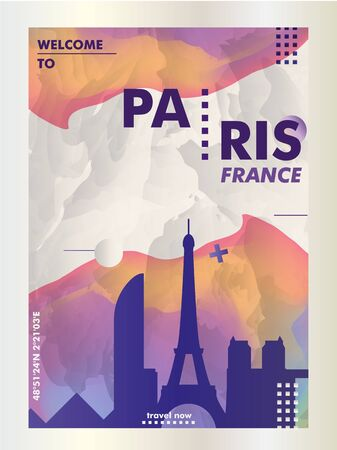 Modern France Paris skyline abstract gradient poster art. Travel guide cover city vector illustration Zdjęcie Seryjne - 133689569