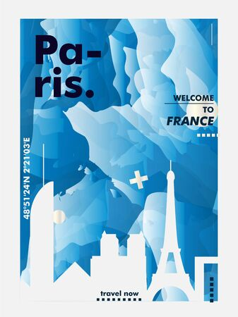 Modern France Paris skyline abstract gradient poster art. Travel guide cover city vector illustration Zdjęcie Seryjne - 133689571