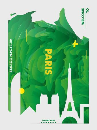 Modern France Paris skyline abstract gradient poster art. Travel guide cover city vector illustration Archivio Fotografico - 133689572