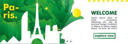 Modern France Paris skyline abstract gradient web banner art. Travel guide cover city vector illustration Illustration