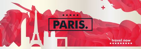 Modern France Paris skyline abstract gradient web banner art. Travel guide cover city vector illustration Archivio Fotografico - 133689575