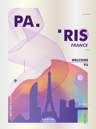 Modern France Paris skyline abstract gradient poster art. Travel guide cover city vector illustration Zdjęcie Seryjne - 133689576