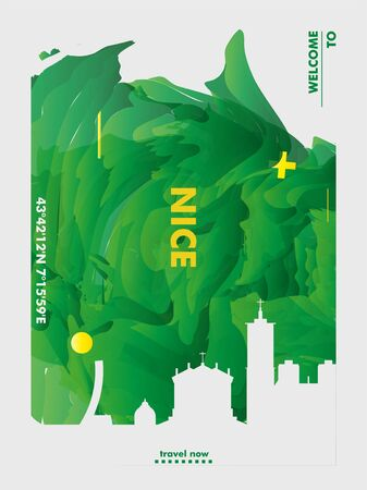Modern France Nice skyline abstract gradient poster art. Travel guide cover city vector illustration