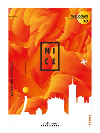 Modern France Nice skyline abstract gradient poster art. Travel guide cover city vector illustration Archivio Fotografico - 133689581