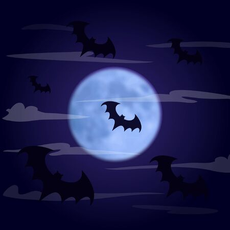 Halloween background. Bats fly in the dark foggy sky against the background of the moon