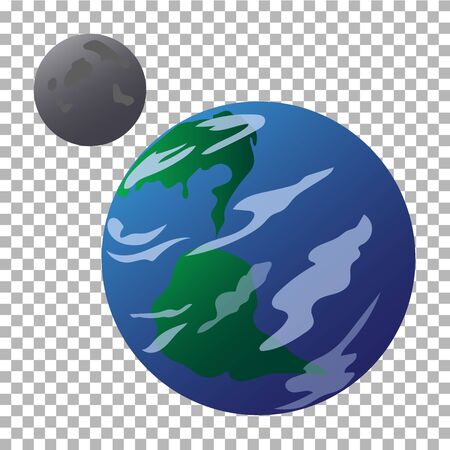 Drawn planet Earth and moon isolated on a transparent background. It can be used for flyers, banners, networks and other projects.