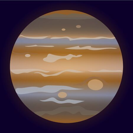 Drawn planet Jupiter on a dark background. It can be used on flyers, banners, networks and other projects. Illustration