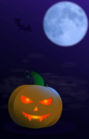 Pumpkin for Halloween in the moonlight on a deep blue background and fog with a flying bat. Vector illustration