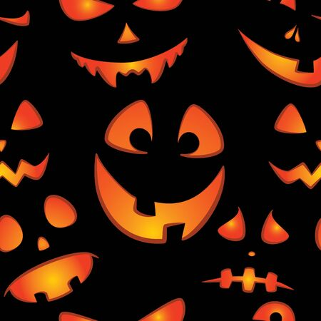 Glowing faces on a dark background in cartoon style seamless pattern. Modern template for Halloween cards, party invitations, menus, wallpapers, holiday sales, t-shirt prints, advertising, etc.