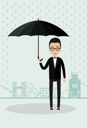 bad weather: Man with an umbrella in a big city
