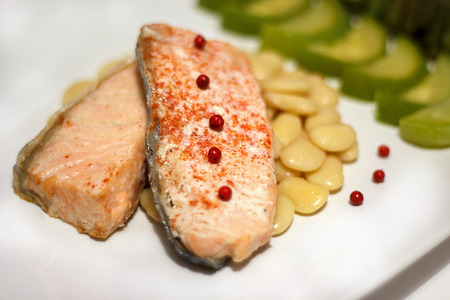 salubrious: Fillet of salmon with mung bean and vegetables. Delicious salubrious invalid health food Stock Photo