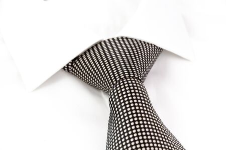 windsor: black and white spotted tie knotted Windsor