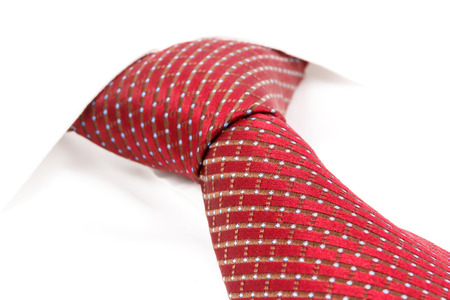 windsor: red spotted tie knotted the double Windsor