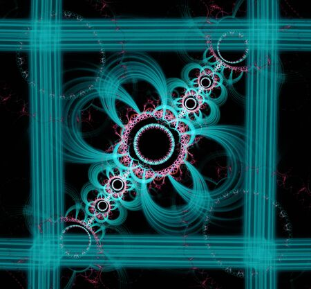 the computer generated: Abstract fractal image. computer generated squares and circles on black background