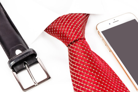 windsor: tie knotted double Windsor with handy Stock Photo