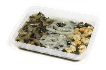 fricassee: Fricassee of squid and shrimp with green beans. Darfresh vacuum-packaging