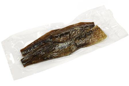 packed: vacuum packed sun dried bream on white background