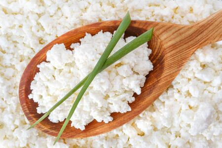 crumbly: crumbly cottage cheese in the wooden spoon with onion on the top