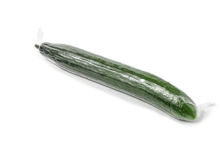 shrink wrapped: cucumber wrapped in a transparent shrink film