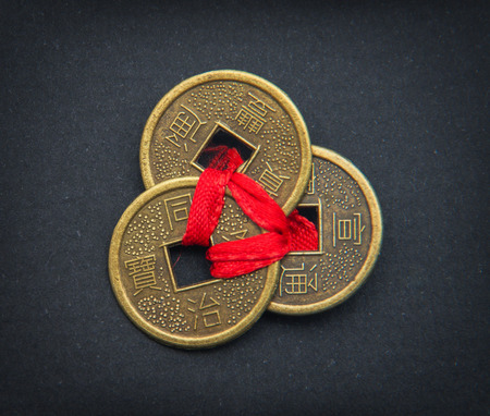 Chinese feng shui coins for good fortune and success. Banque d'images