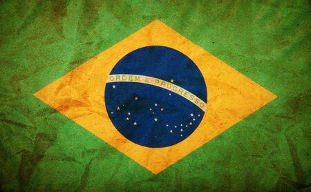Grunge of Brazil Flag Stock Photo